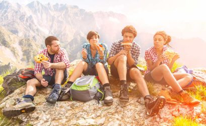 Hütten, wandern, Berge, Freunde, Übernachtungen