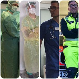 Im OP, Auf CoVid-Intensiv, in der Nothilfe, in Notarztkleidung